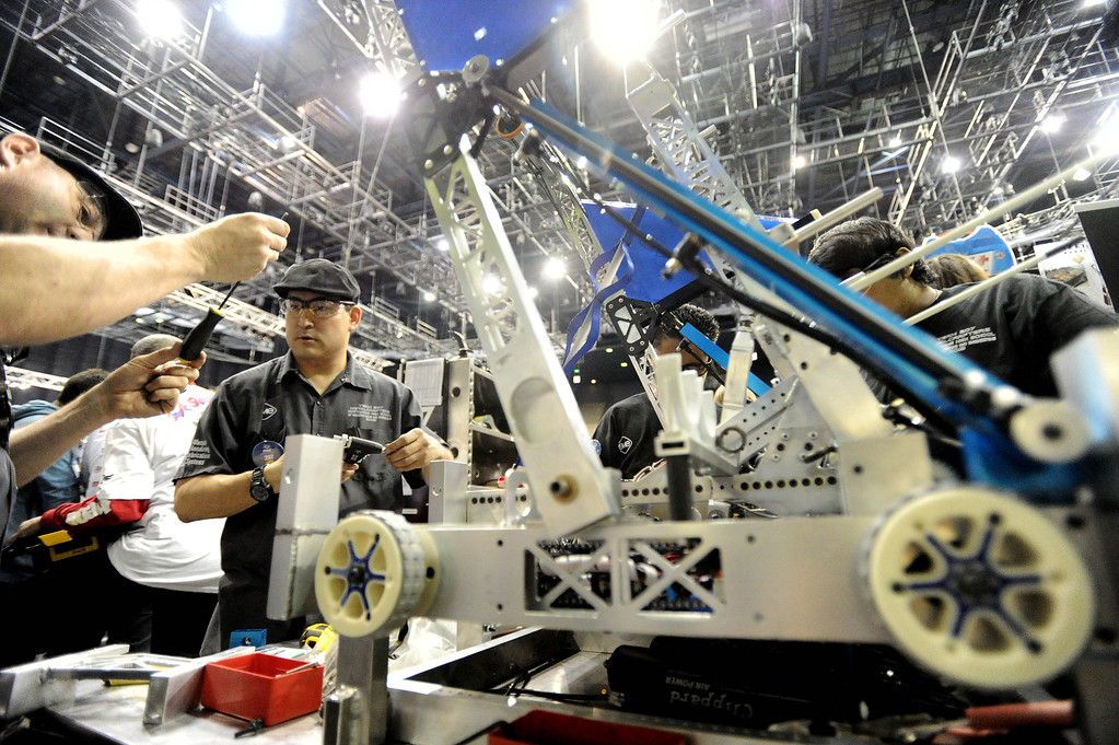 . Hawthorne High School of Manufacturing and Engineering participates in the First Robotics Competition, a Raytheon sponsored event where local high school students  built robots to compete, kicked off today at the Long Beach Arena in Long Beach, CA. on Wednesday March 19, 2014. (Photo by Sean Hiller/ Daily Breeze).