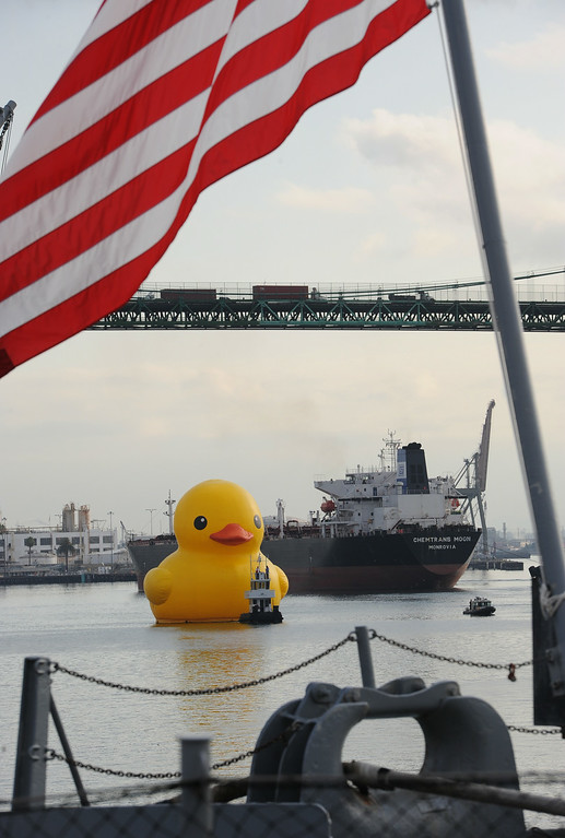 . Rubber duck sculpture is towed through Port of LA Harbor in preparation for the Tall Ships Festival this weekend in San Pedro.Photo by Brad Graverson/The Daily Breeze/ 08/20/14