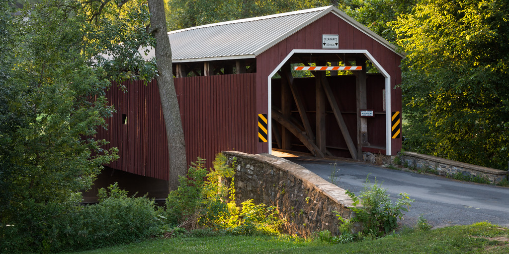 Zook's Mill Covered Bridge was built by Henry Zook in 1849. The bridge spans 74 feet over the Cocalico Creek. Lancaster County, PA<br /> <br /> PA-120704-0017