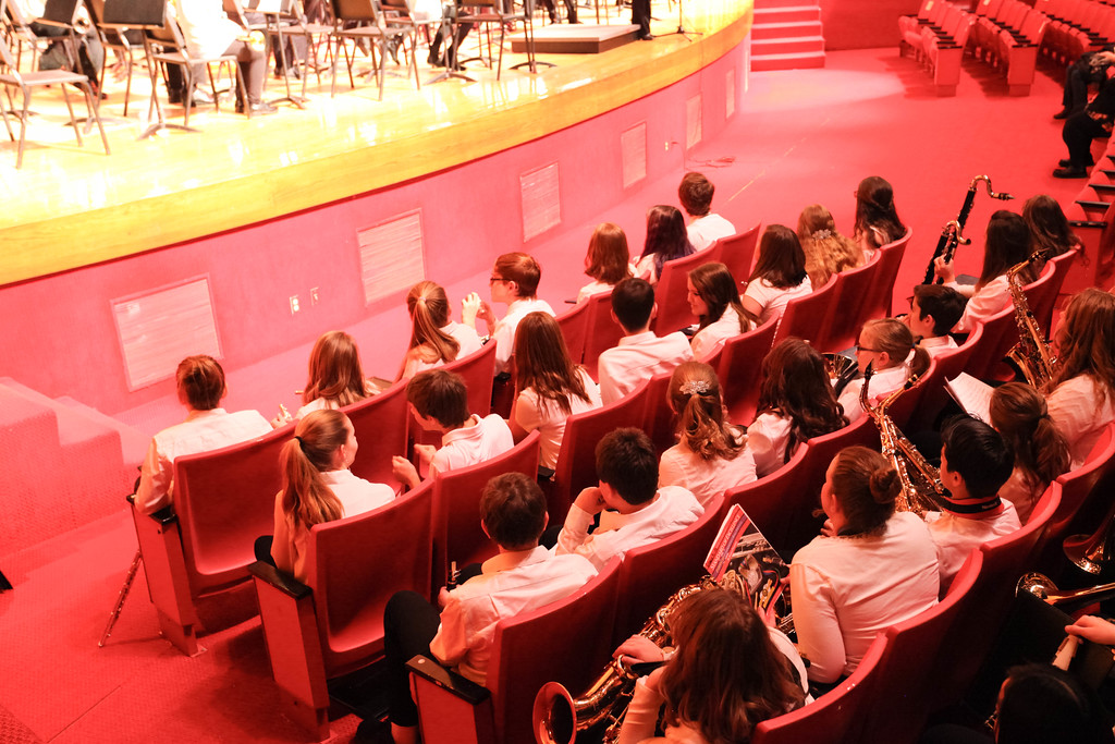"""Tibby McDowell   The Sheridan Press<br /> <br /> The 7th and 8th grade combined bands wait for their turn in the audience during Sheridan Junior High School """"Pops"""" Concert at Early Auditorium Thursday Feb. 8, 2018."""