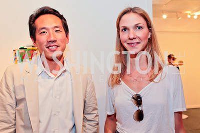Howard Yoon, Chloe Schama. Sacha Scoblic's UNWASTED Book Launch Party. International Arts & Artists. Photo by Alfredo Flores. July 27, 2011