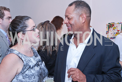 Elizabeth Leigh, Gerald Thompson. Sacha Scoblic's UNWASTED Book Launch Party. International Arts & Artists. Photo by Alfredo Flores. July 27, 2011