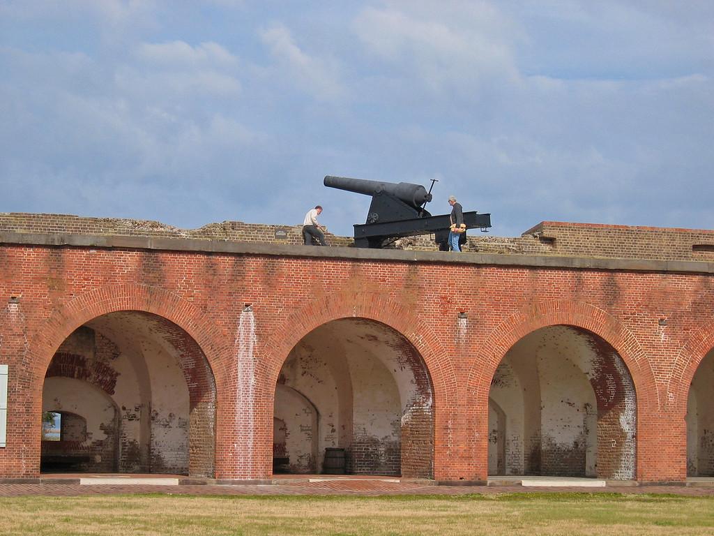 Ron checking out the big guns at Fort Pulaski