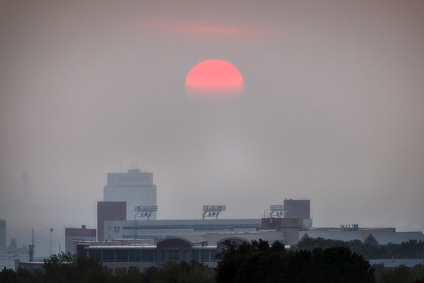 Smoky Sunset over Rice Eccles