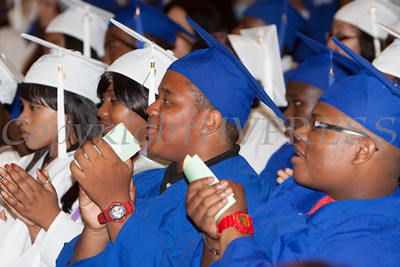 Poughkeepsie High School graduates listen to speeches during the 140th Commencement Exercises for the graduating Class of 2012 in Poughkeepsie, NY on Friday, June 22, 2012. Hudson Valley Press/CHUCK STEWART, JR.