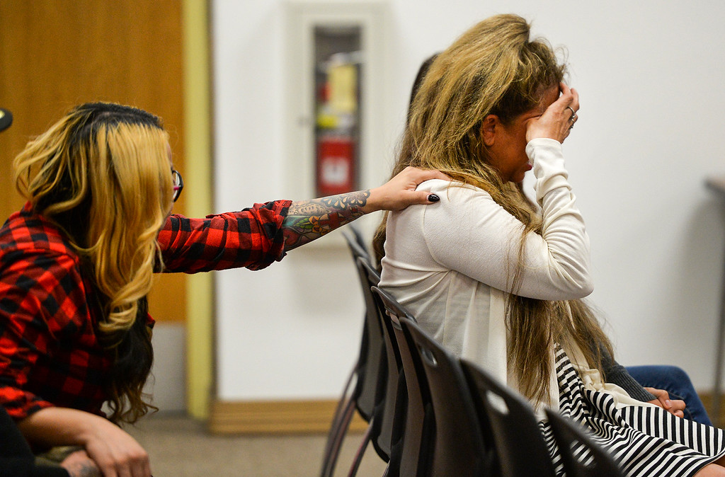 . Parent Maggie Ventura, left,  consoles teacher Patti Martin during a special meeting with the South Whittier school board where the board is considering her termination at the District office on Tuesday May 9, 2017. (Photo by Keith Durflinger/Whittier Daily News/SCNG)