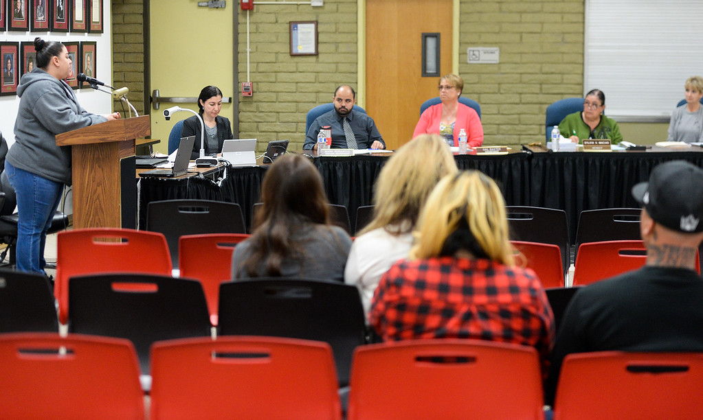 . Parent Renee Noriega speaks to the South Whittier school board on behalf of Teacher Patti Martin during a special meeting where the board is considering her termination at the District office on Tuesday May 9, 2017. (Photo by Keith Durflinger/Whittier Daily News/SCNG)
