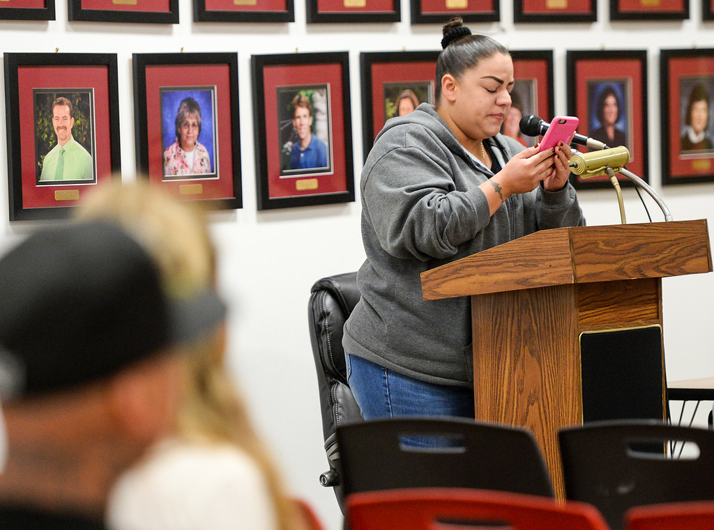 . Parent Renee Noriega reads a letter from her daughter to the South Whittier school board on behalf of Teacher Patti Martin during a special meeting where the board is considering her termination at the District office on Tuesday May 9, 2017. (Photo by Keith Durflinger/Whittier Daily News/SCNG)