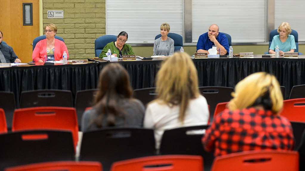 . Teacher Patti Martin and parents address the South Whittier school board during a special meeting where the board is considering her termination oat the District office on Tuesday May 9, 2017. (Photo by Keith Durflinger/Whittier Daily News/SCNG)