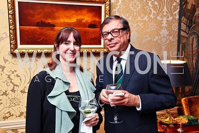 Annie Groer, Bob Colacello. Senator Scott Brown Book Party. Photo by Tony Powell. Berman residence. April 6, 2011
