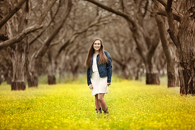 Tori- Grandfather's Walnut Orchard - Senior Photography-Mustard Flowers - Linden - California