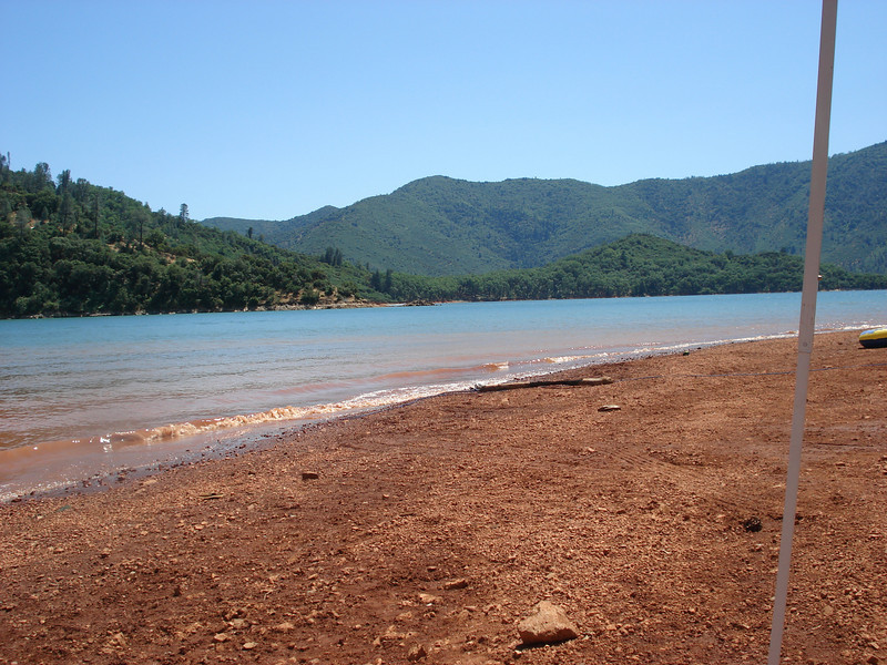 Shasta Lake from our day camp. The air temp was in the high 90's, the water was in the high 70's, wind was 10mph, and the surrounding hill sides were beautiful. The lake was only 6' down from full.