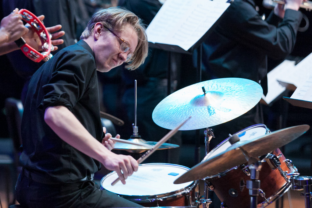 Tibby McDowell | The Sheridan Press<br /> Andrew Weitz performs on drums during the Jazz program at the Whitney Center for the Arts at Sheridan College Thursday, March 8, 2018.