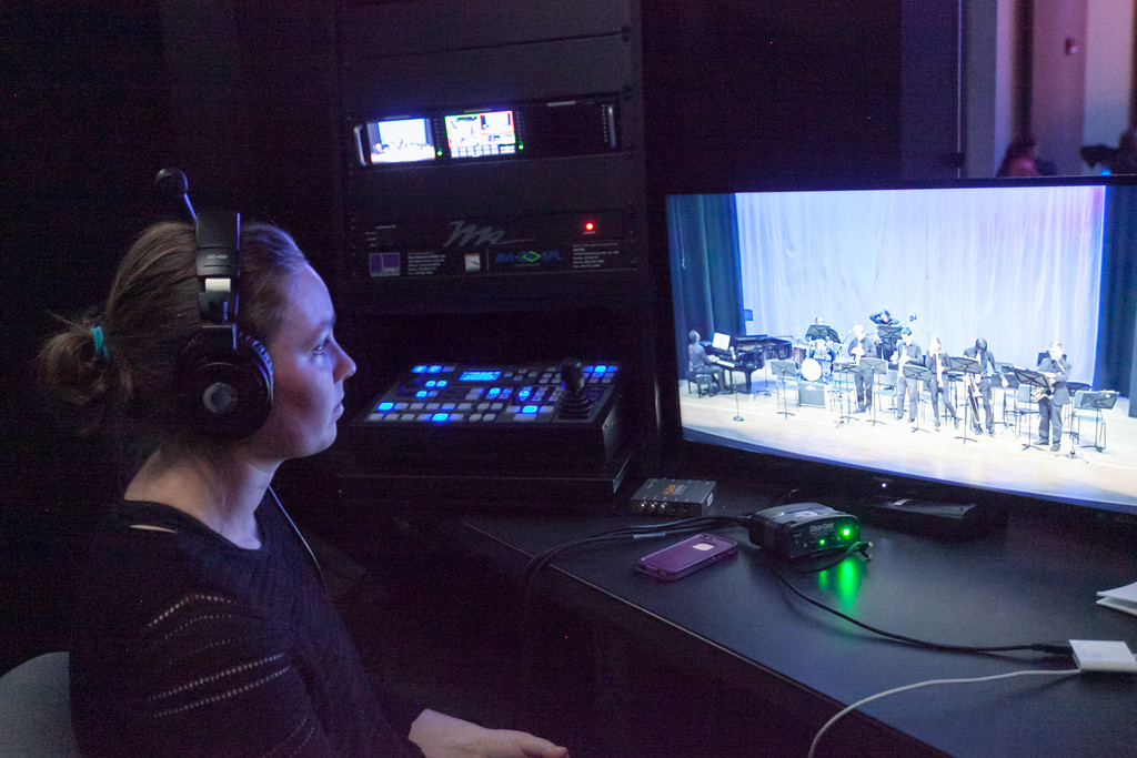 Tibby McDowell | The Sheridan Press<br /> Cherokee Winkler helps run the control room during the Jazz program at the Whitney Center for the Arts at Sheridan College Thursday, March 8, 2018.
