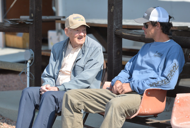Ryan Patterson | The Sheridan Press<br /> John Davis, left, talks with Conlin Parrott during the Sheridan Flying Cowboys R/C Club annual fly-in Sunday, Sept. 9, 2018. Forty-seven people participated in the multi-day event.