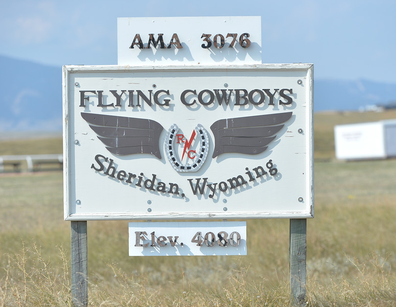 Ryan Patterson | The Sheridan Press<br /> A sign stands during the Sheridan Flying Cowboys R/C Club annual fly-in Sunday, Sept. 9, 2018. Forty-seven people participated in the multi-day event.