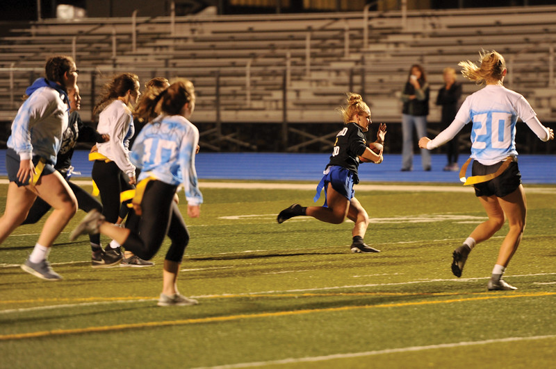 Matthew Gaston | The Sheridan Press<br>Senior Braylee Standish runs one in for a touchdown during the Sheridan High School Powderpuff game Tuesday, Oct. 2, 2018.