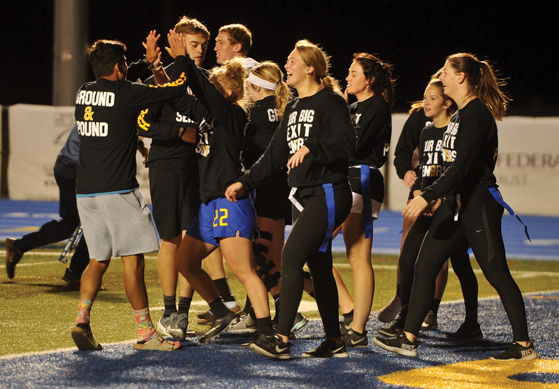 Matthew Gaston | The Sheridan Press<br>The Seniors celebrate after scoring a touchdown at Tuesday nights Powderpuff game. Oct. 2, 2018.