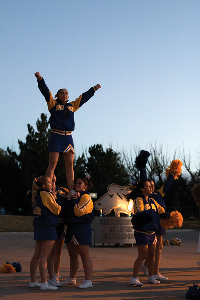 Matthew Gaston | The Sheridan Press<br>The Sheridan High School cheer squad was flying high for the Burning of the Bronc Wednesday, Oct. 3,2018.