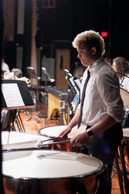 Tibby McDowell | The Sheridan Press  Jack Erramouspe gets ready to join in on percussion during the Sheridan High School Festival Concert at Sue Henry Theater Tuesday, April 10, 2018.