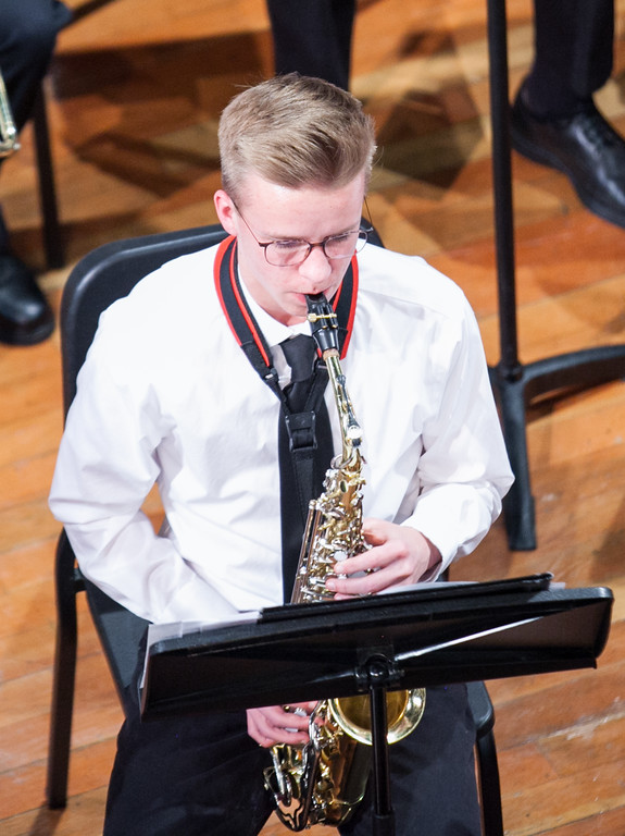 Tibby McDowell | The Sheridan Press  Truman Jones plays the alto saxophone during the Sheridan High School Festival Concert at Sue Henry Theater Tuesday, April 10, 2018.