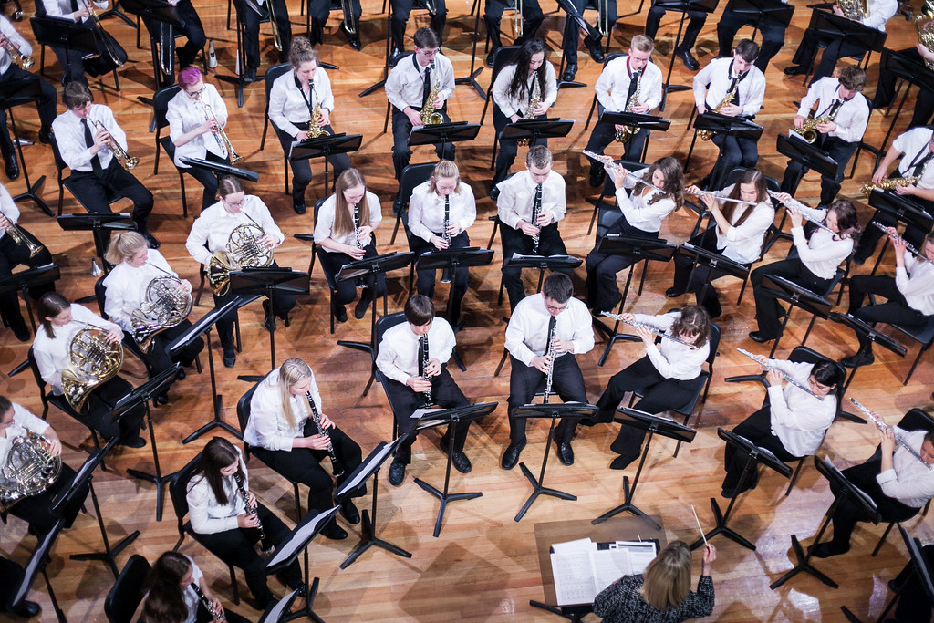Tibby McDowell | The Sheridan Press  Diane Knutson directs the symphonic band during the Sheridan High School Festival Concert at Sue Henry Theater Tuesday, April 10, 2018.