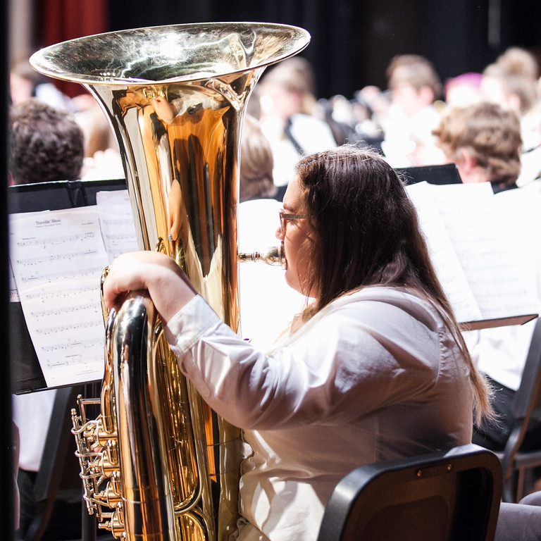 Tibby McDowell | The Sheridan Press  Annie Diaz plays the tuba during the Sheridan High School Festival Concert at Sue Henry Theater Tuesday, April 10, 2018.