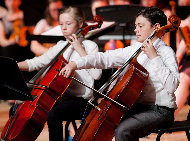 Tibby McDowell | The Sheridan Press<br /> Jackson Dahl, right, and Abigail Newton play a cello duet during the orchestra concert at the Sheridan Junior High School Early Auditorium Wednesday, March 21, 2018.