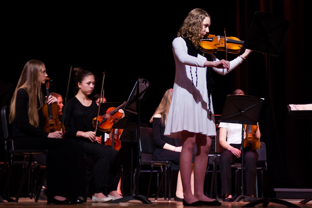 Tibby McDowell | The Sheridan Press<br /> Sydney Black plays a solo during the orchestra concert at the Sheridan Junior High School Early Auditorium Wednesday, March 21, 2018.