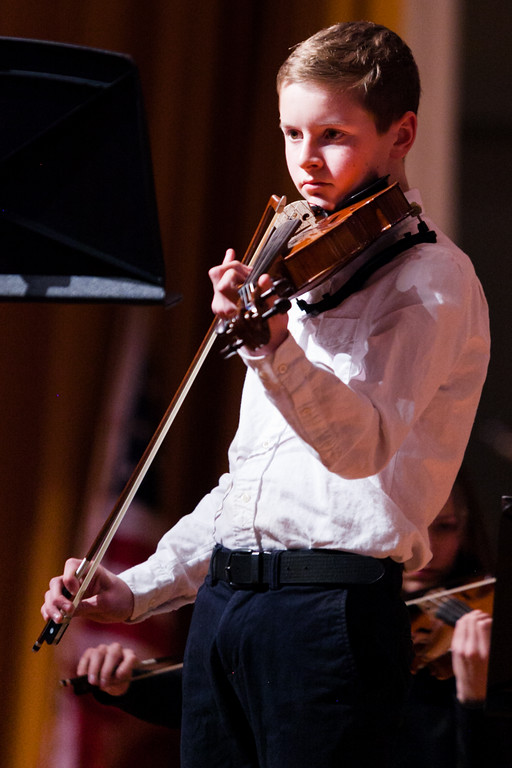Tibby McDowell | The Sheridan Press<br /> Luke Lawson plays a solo during the orchestra concert at the Sheridan Junior High School Early Auditorium Wednesday, March 21, 2018.