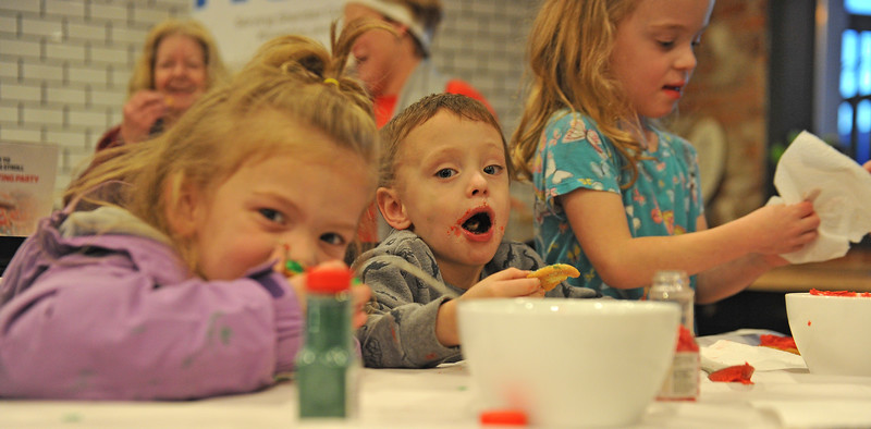 Ryan Patterson | The Sheridan Press<br /> From left: Delaney Darr, Jaxson Bardell and Raylynn Darr participate in a cookie decorating party hosted by The Sheridan Press at Cottonwood Kitchen + Home Friday, Nov. 23, 2018.