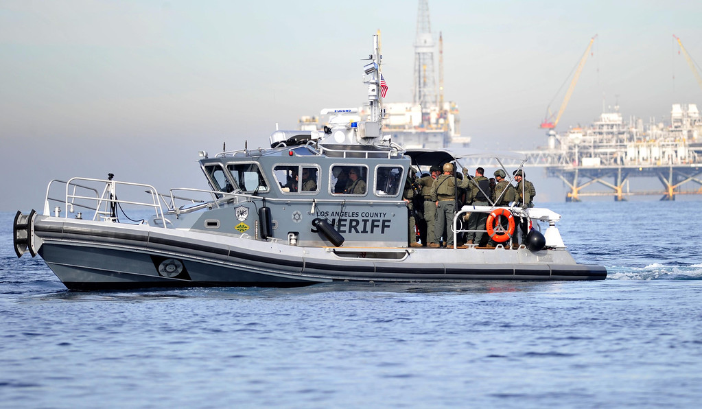 . Vessels circle as the Los Angeles County Sheriff�s Department conducted a homeland security training drill at oil platform Eureka, off the coast between Catalina and Long Beach on Tuesday, November 26, 2013. (Photo by Sean Hiller/ Daily Breeze).