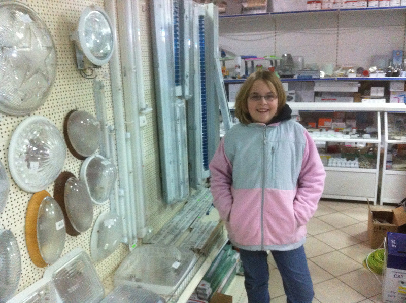 Sarah and I went to the hardware store with Nicolae. We were searching for light bulbs for our kitchen.