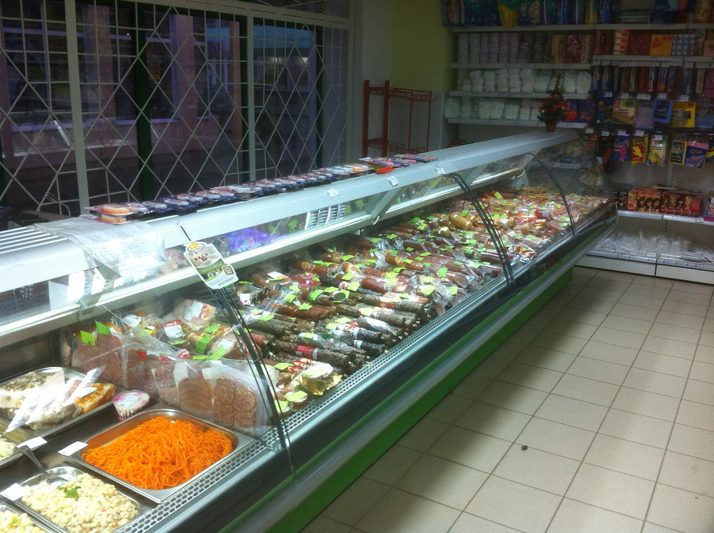 Meat counter at the market.