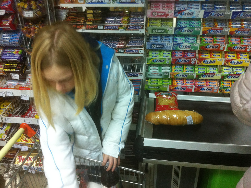 Ashley at the checkout counter