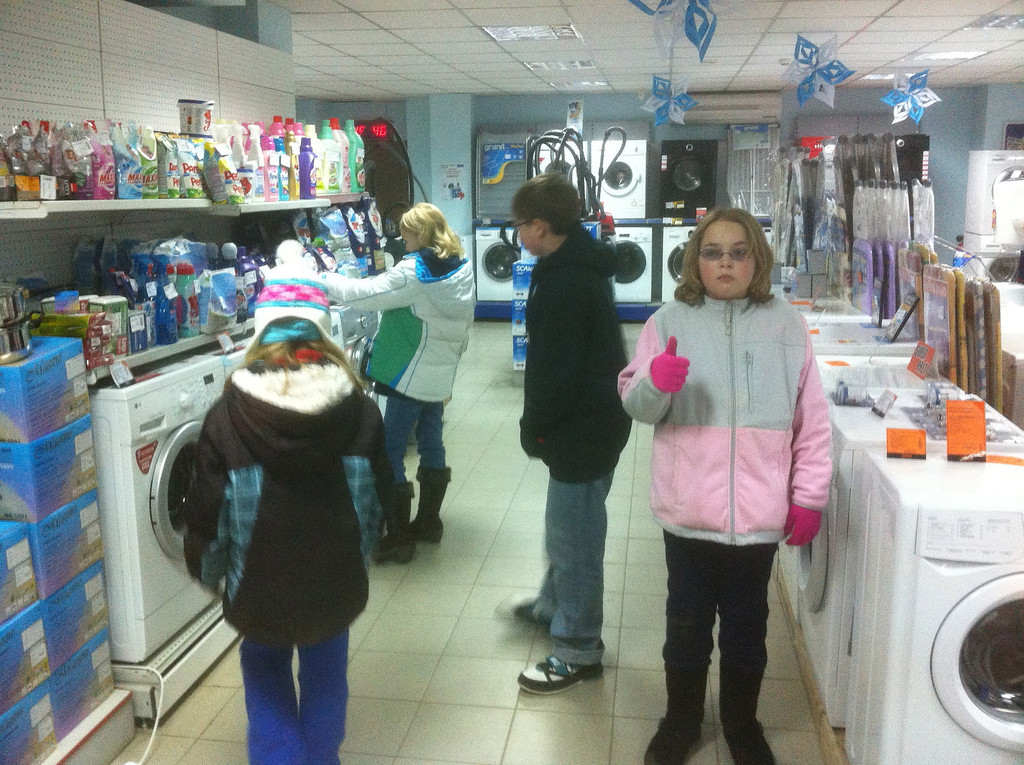 We are shopping, looking for laundry detergent.