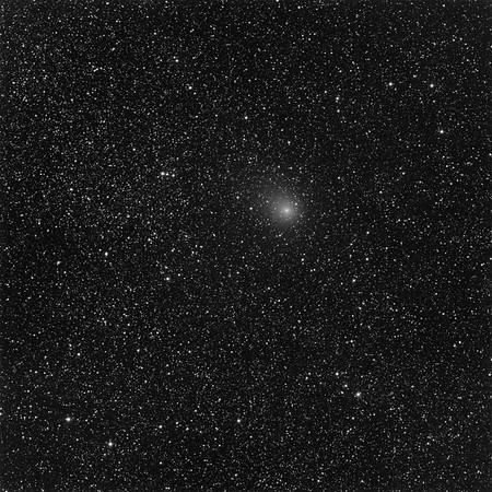 "Comet Panstarrs C/2016-M1, against the Milky Way. 5 minutes exposure.   Aspen CG16M on 20"" PlaneWave. Field 36 min arc, North up."