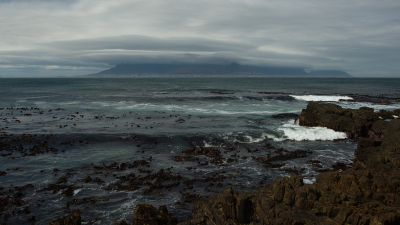 Table Mountain from Robben island, South Africa.
