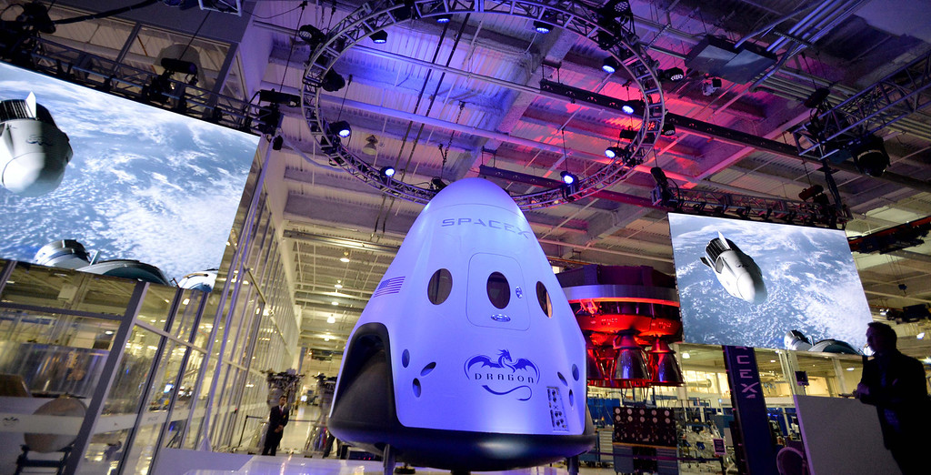 . SpaceX unveils its latest Dragon V2 spacecraft, which will shuttle astronauts to and from the International Space Station, in Hawthorne, CA. on Thursday May 29, 2014. (Photo by Sean Hiller/ Daily Breeze).