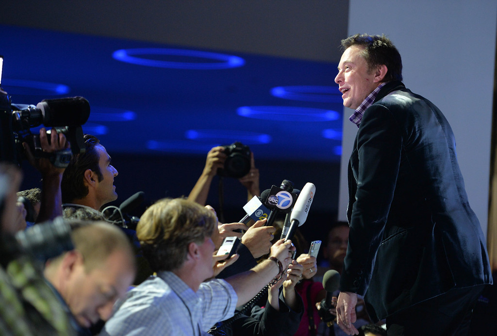 . Elon Musk, SpaceX CEO and founder, talks to the media after SpaceX unveiled its latest Dragon V2 spacecraft,  in Hawthorne, CA. on Thursday May 29, 2014. (Photo by Sean Hiller/ Daily Breeze).