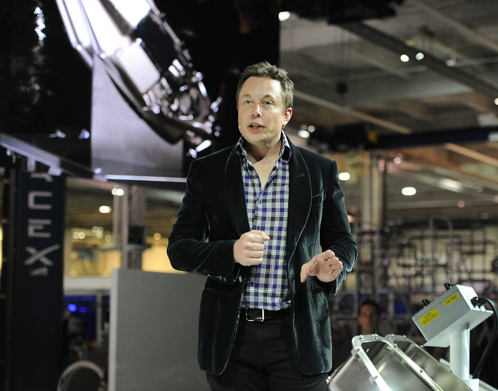 . Elon Musk, SpaceX CEO and founder, unveils the latest Dragon V2 spacecraft,  in Hawthorne, CA. on Thursday May 29, 2014. (Photo by Sean Hiller/ Daily Breeze).