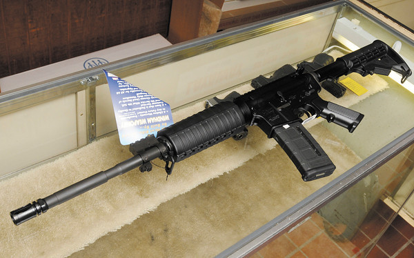 A Windam AR-15 with a 30 round magazine.