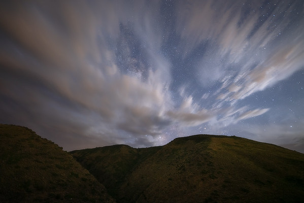 Clouds Obscuring the Milky Way over Bell Rock Canyon