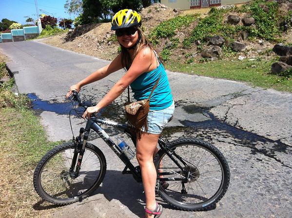 Nellie biking on Nevis