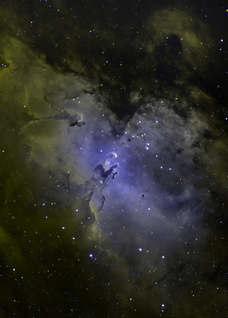 "Eagle Nebula (M16). Yellow H-alpha (Aspen 16M 3hrs + STL-11000M 3.5 hrs), Blue OIII (STL only 4hrs). PlaneWave 20"" CDK."