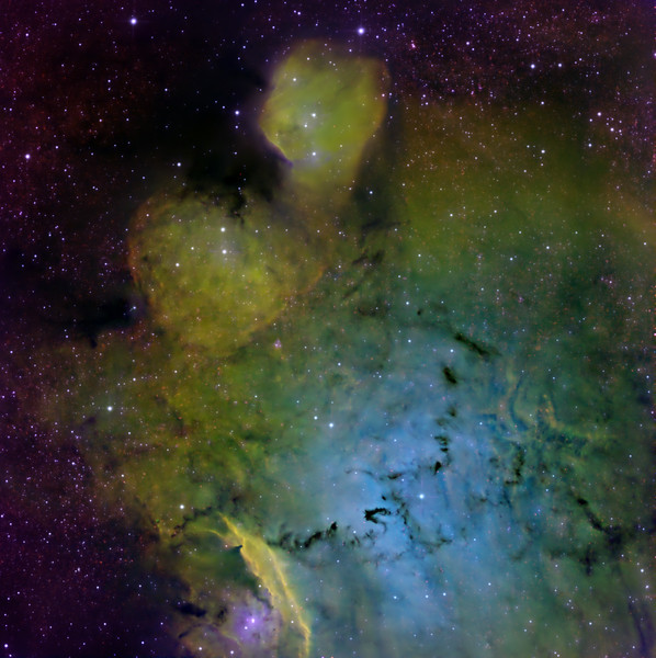 "A narrowband close-up of toes of ""Bigfoot"", M8 being the heel.  This area is mostly very soft-edged, with few shock fronts, and it required much wavelet sharpening to bring out the main features.  A Ninja Turtle of indeterminate age, in full battle gear. IC 1274 is the head, the bright region of nebulosity at the top of the image. The turtle holds a gladius (short sword) in its right hand. Across the blue belly of the turtle is a set of very sharp serpiginous dust lanes,. There is a black dragon emblazoned on the fighter's belt. The left hand (our right) holds a large shield which on very close inspection (around the 4-o'clock region) can be seen to be decorated with a scary starfish-man, completing the nautical battle theme.  Two areas of OIII stand out: the capacious turtle beer-belly (complete with the black dragon that we mentioned earlier) seems to be IC 4685. Toward 8 o'clock from the gladius is another blue patch illuminated by NGC 6559.  The dusty region our left of the turtle's right ear is Barnard 91.  Sulphur II was largely co-located with H-alpha. There is considerable SII in the shock fronts comprising the gladius.  Red: SII 3hrs, Green H-alpha 3hrs, Blue OIII 4hrs. Aspen CG16M on 20"" PlaneWave. Processing using our own GoodLook 64."