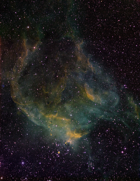 Burst Bubble Nebula, or the Emerald Firebird (see next image), north of NGC 3572. Green: H-alpha 11 hrs, Blue: OIII 11 hrs, Red: SII 8 hrs, and NII 4 hrs, all in 1hr subs. 0.55 sec arc per pixel. Image height about 48 min arc, north up. Aspen CG16M on 20 inch PlaneWave.