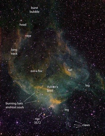 Annotated version of the Burst Bubble nebula (see next image), north of NGC 3572, showing that it is in fact an Emerald Firebird.