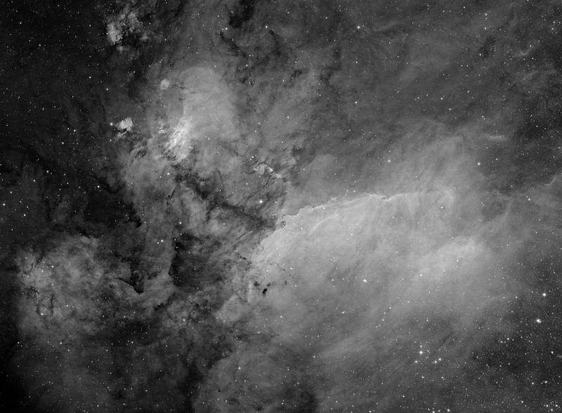 Prawn nebula processed to show faint detail. 8 panel mosaic. 35 x 1 hr H-alpha. Aspen CG16M on 20 inch PlaneWave
