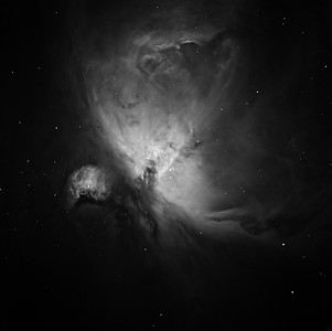 M42, H-alpha. 2 hrs in 15 min subs + 20 seconds on the core. This is our first image since having our Apogee Aspen CG16M camera repaired by Andor (who own Apogee). They took  almost THREE MONTHS  to refurbish the chamber seal.  For this reason we can no longer recommend Apogee. To us, the repair seemed punitively and uncaringly slow.